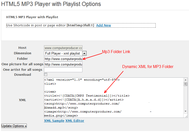 HTML5MP3Playlist with folder