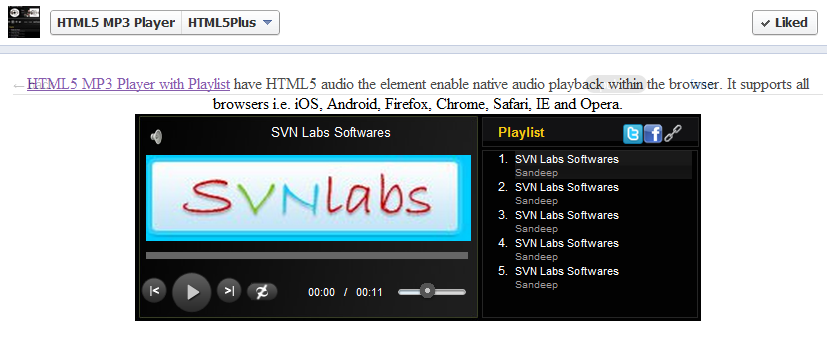 HTML5 MP3 Player on Facebook | HTML5 MP3 Player with Playlist