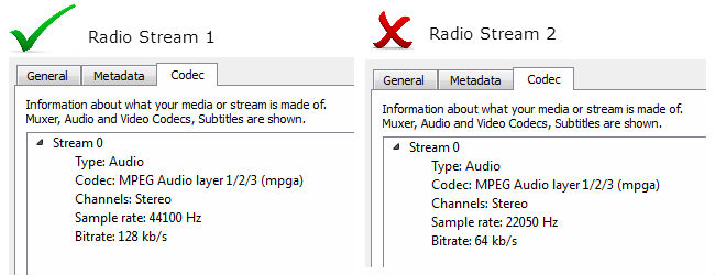 Some Shoutcast Icecast mp3′s won't play in html5 audio player